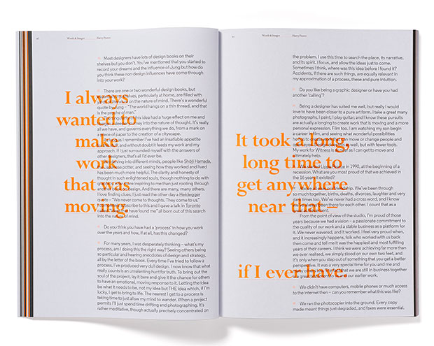 Harry Pearce interview and orange overprint quotes
