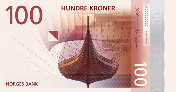 Norway 100 krone illustrated reverse banknote
