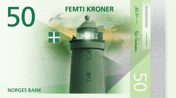 Norway 50 krone illustrated reverse banknote