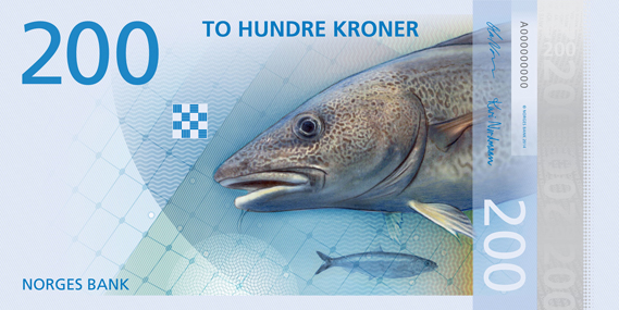 Norway 200 krone illustrated reverse banknote