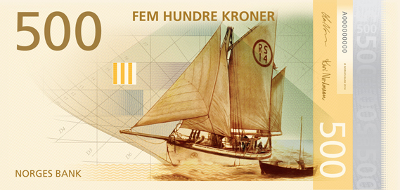 Norway 500 krone illustrated reverse banknote