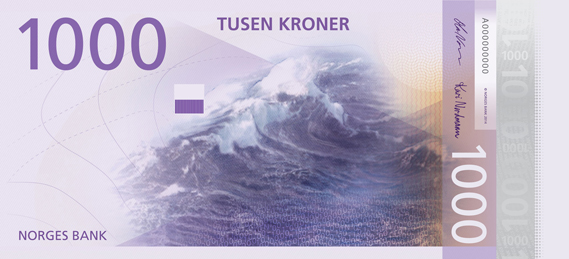 Norway 1000 krone illustrated reverse banknote