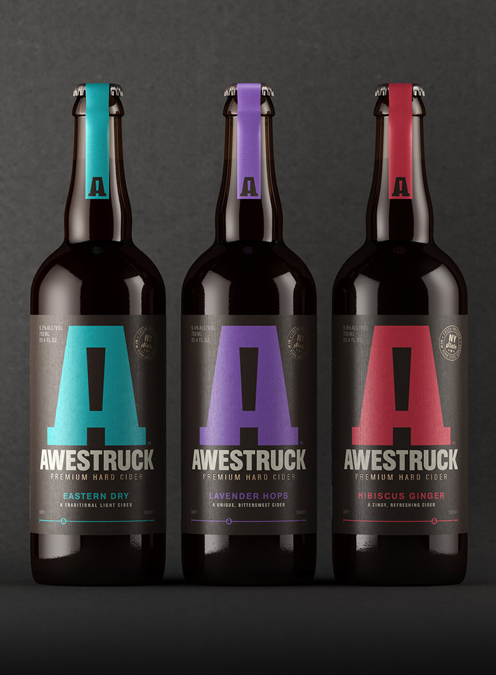 Awestruck cider packaging and design by Buddy Creative